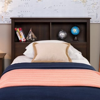 Everett Espresso Twin Bookcase Headboard