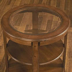 Glass Top Round End Table