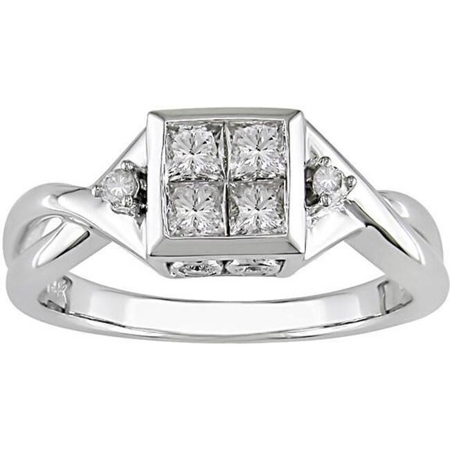 14k White Gold 1/2ct TDW Round and Princess Diamond Ring (H-I, I1-I2)