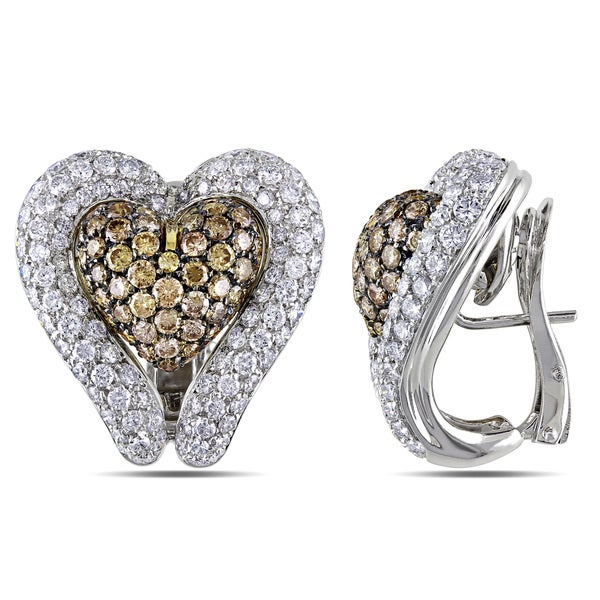 Miadora Signature Collection 18k Two-tone Gold 7ct TDW White and Brown Diamond Heart Earrings (G-H, SI)