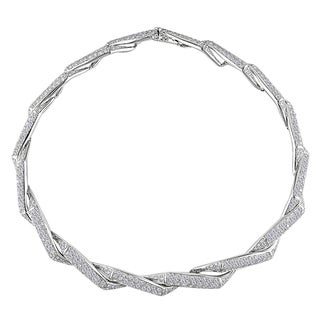 Miadora 18k White Gold 10 5/8ct TDW Diamond Swirl Necklace (GH, I1)