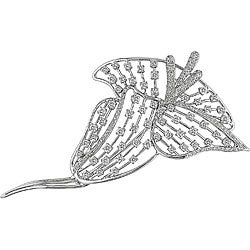 Miadora 18k Gold 2 3/4ct TDW Diamond Flower Brooch (GH, SI)
