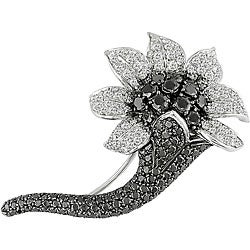 Miadora 18k Gold 7 1/5ct TDW Black and White Diamond Brooch (GH, SI)
