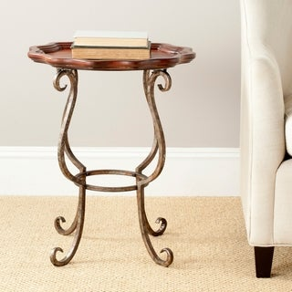 Safavieh Lorraine Dark Brown Scalloped Side Table