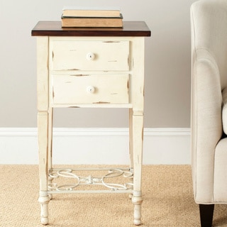 Monica Two-drawer Antique White and Dark Brown Beech Side Table