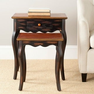 Safavieh Annie Black Oak Brown Nesting Tables (Set of 2)