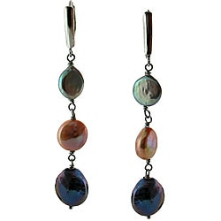 DaVonna Silver Pink Grey and Black Coin Pearl Drop Earrings (10-11 mm)