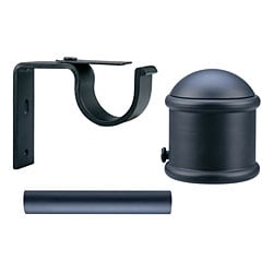 Black Endcap Finial 6-foot Iron Drapery Rod Set