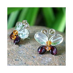 Silver Garnet/ Citrine 'Exotic Butterfly' Earrings (Thailand)