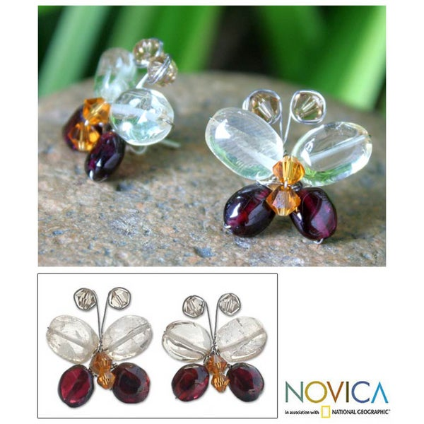 Silver Garnet/ Citrine 'Exotic Butterfly' Earrings (Thailand)