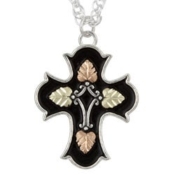 Black Hills Gold and Sterling Silver Antiqued Cross Necklace
