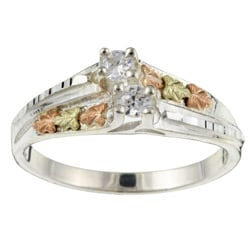 Black Hills Gold and Silver Cubic Zirconia Ring
