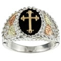Black Hills Gold and Sterling Silver Mens Cross Ring