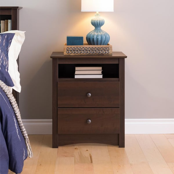 Ellsworth espresso tall 2 drawer night stand 11960759 How tall is a nightstand