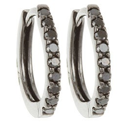 Black Rhodium 14k Gold 1/5ct TDW Black Diamond Hoop Earrings