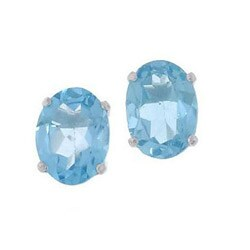 Kabella 14k White Gold Oval Blue Topaz Stud Earrings
