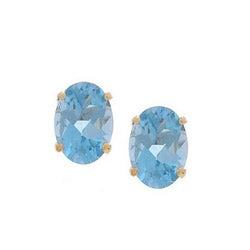Kabella 14k Yellow Gold Oval Blue Topaz Stud Earrings