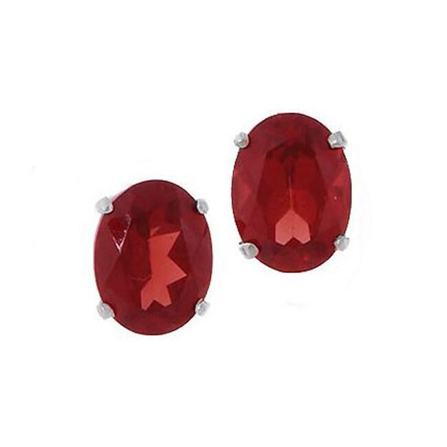 Kabella 14k White Gold Oval Garnet Stud Earrings