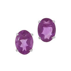 Kabella 14k White Gold Oval Amethyst Stud Earrings