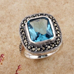 Sterling Silver Marcasite and Blue CZ Ring (Thailand)