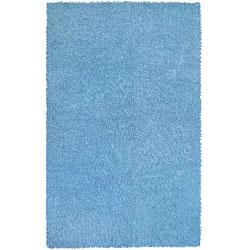 Blue Chenille Shag Rug (4' x 6')