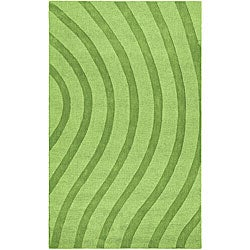 Hand-tufted Green Waves Wool Rug (5' x 8')