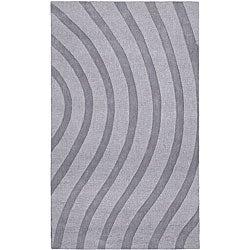 Hand-tufted Grey Waves Wool Rug (5' x 8')