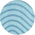 Blue Waves Wool Rug (8' Round)