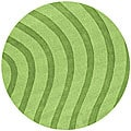 Green Waves Wool Rug (8' Round)