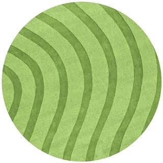 Green Waves Wool Rug (8' Round)