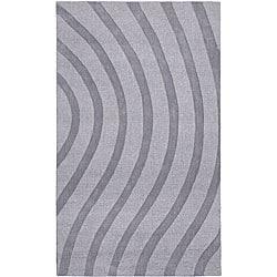 Elite Wave Grey Wool Rug (8' x 10')