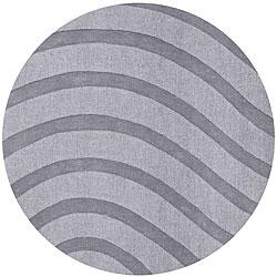 Grey Wool Waves Rug (8' Round)