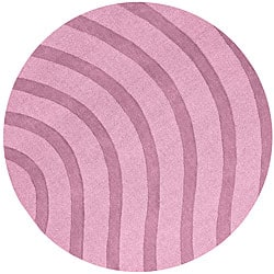 Purple Wool Waves Rug (8' Round)