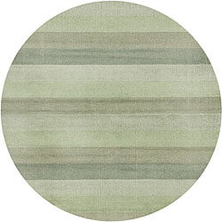 Green Stripes Wool Rug (8' Round)