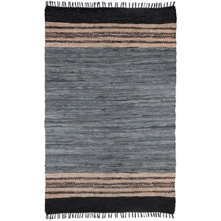 Chindi Grey Leather Rug (4' x 6')
