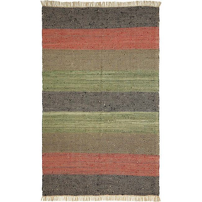 Chindi Striped Leather Rug (4' x 6')