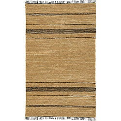 Chindi Tan/ Black Leather Rug (4' x 6')