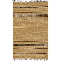 Chindi Tan Leather Rug (5' x 8')