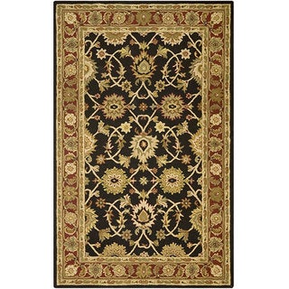 Kashan Black/ Plum Wool Rug (5' x 8')
