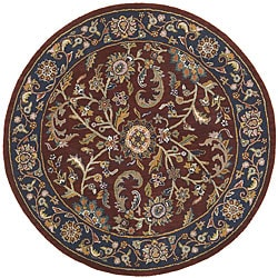 Elite Kashan Red/ Navy Wool Rug (8' Round)