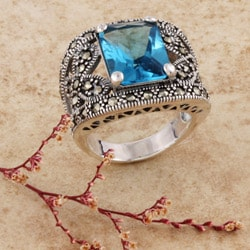 Sterling Silver Marcasite and Square-cut Blue CZ Ring (Thailand)