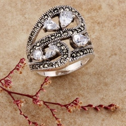 Sterling Silver Marcasite and CZ 'Petals' Ring (Thailand)