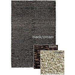Hand-woven Mandara Black/ Brown/ Cream Poly/ Jute Rug (3'6 x 5'6)