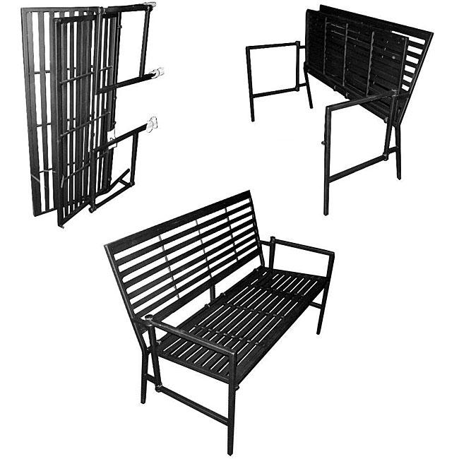 Iron Folding Black Slatted Garden Bench
