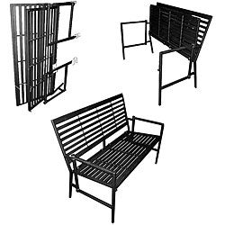 Iron Folding Black Slatted Garden Bench