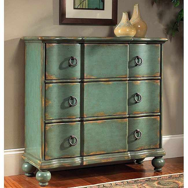 Hand painted distressed blue green accent chest 11968407 for Distressed furniture