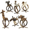 Set of 6 Banana Fiber Animal Napkin Rings (Kenya)