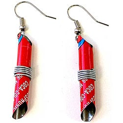 Tin Can 'Red #2' Tube Earrings (Zimbabwe)