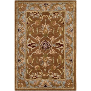 Handmade Heritage Shahi Brown/ Blue Wool Rug (2&#39; x 3&#39;)