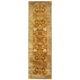 Handmade Heritage Shahi Brown/ Blue Wool Runner (2'3 x 10')